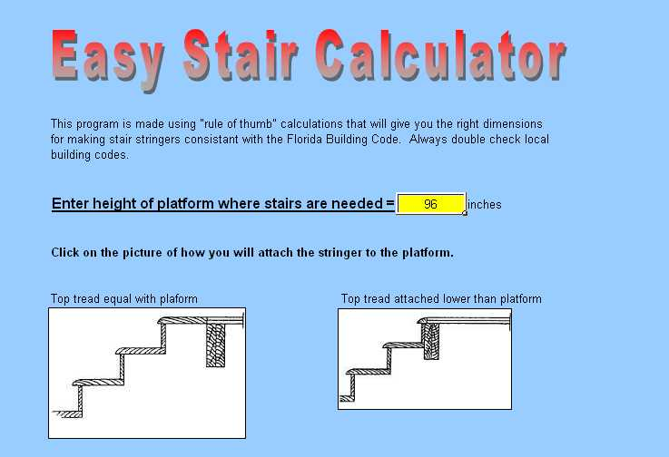 Deck Stair Stringer Calculator